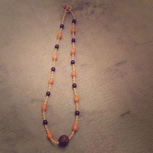 Jewelry - Wood beaded necklace on hemp string